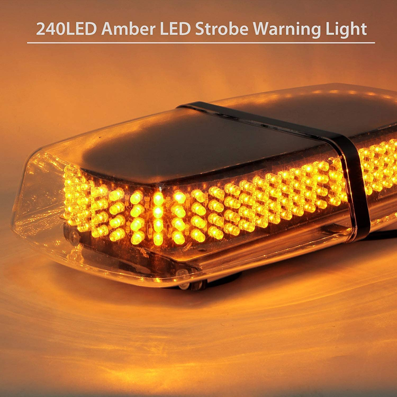 5559078294 Amber+White Didieyes 17in 44w LED Warning Strobe Light Short Row Caution Emergency Hazard Flashing Lamps with 10 Models Controller Magnetic Base for Truck Construction Snow Plow Vehicles DC12-24v