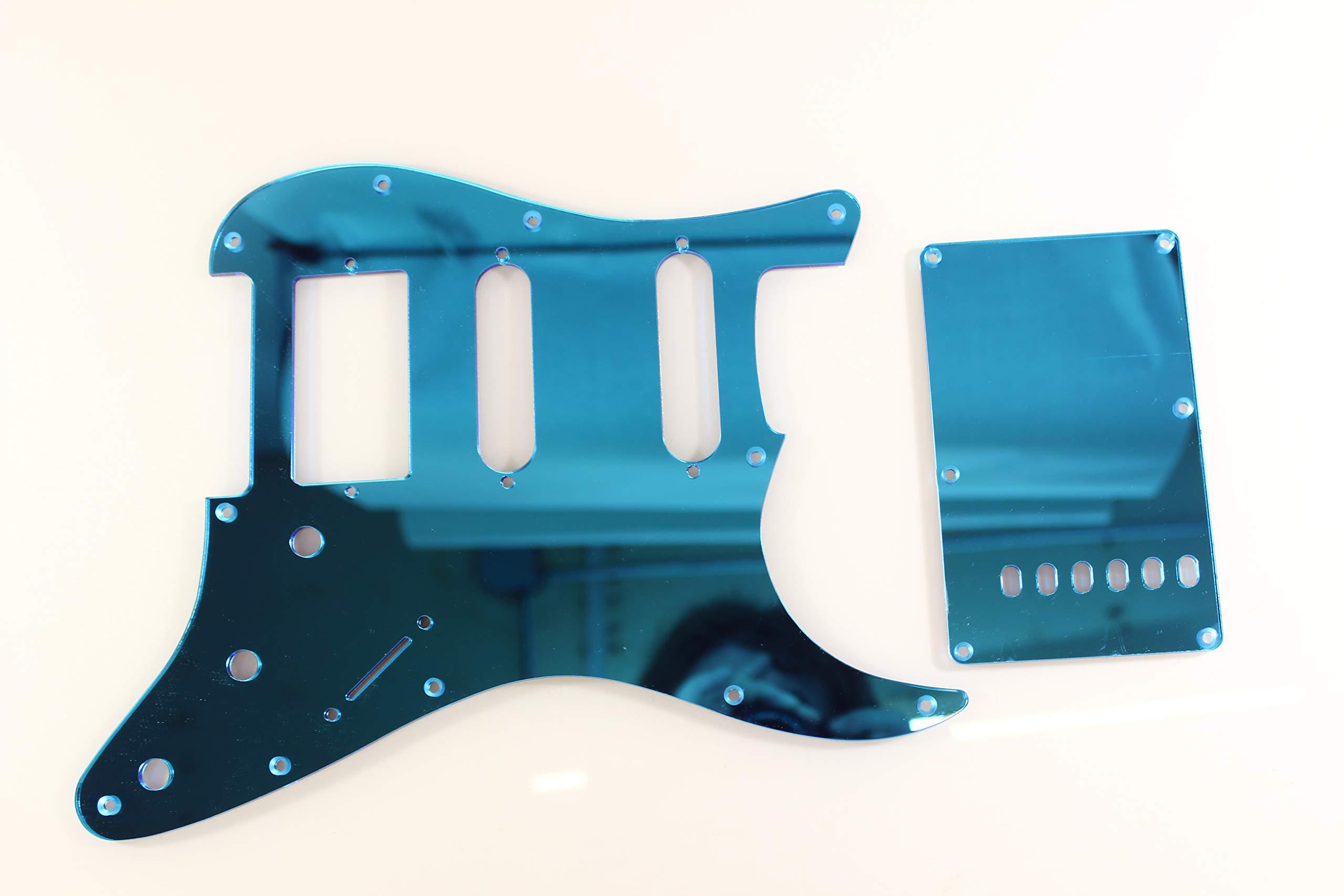 Blue Mirror Acrylic (plastic) HSS Pickguard Set Fits Fender Stratocaster Strat