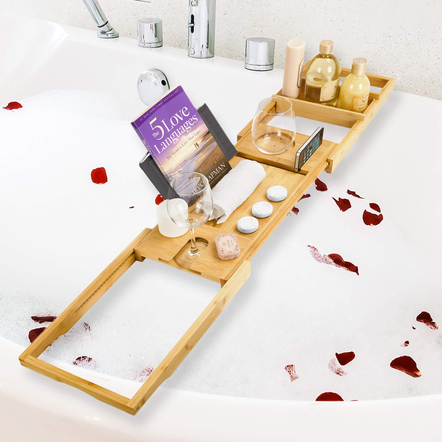 Royal Bathtub Tray Set - Expandable Non-Slip Bamboo Wooden Caddy Bath Holder for Drinks Book Tablet & Phone - Bathroom Hot Tub Accessories Extra Towel and Sponge Perfect Shower Gift (Light Brown)