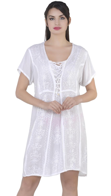 SKAVIJ Mujeres Vestido de la túnica Floja Ocasional de la Blusa de Manga Corta Kurti Camiseta