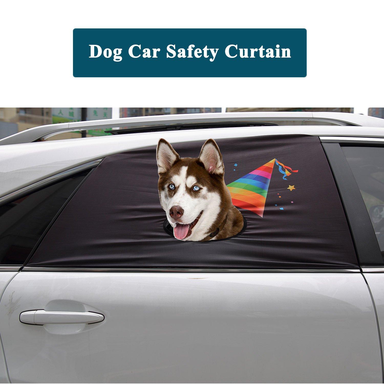 Birthday Hat Flightbird Dog Car Safety Curtain, Car Window Barriers Foldable Car Sun Shades for Baby Pet Kid,Adjustable Flexible Breathable Stylish Universal Fit for Car SUV Jeep