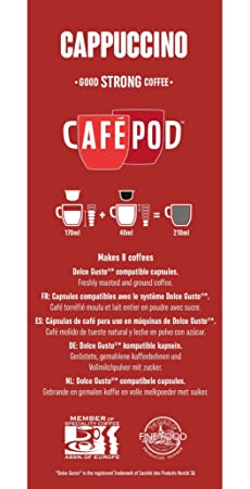 Amazon.com : CafePod Cafapod 16 Cappuccino Dolce Gusto Compatible Capsules (Pack Of 5 Total Of 80 Capsules, 40 Servings) : Grocery & Gourmet Food