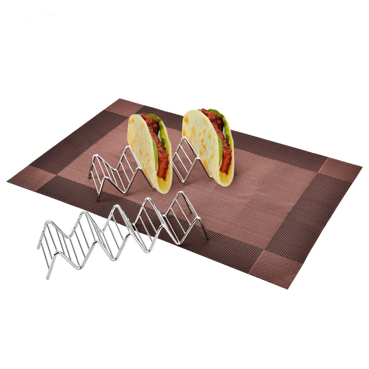 Taco stand, Newroad Stainless Steel Taco holders, 5 Taco Rack Tray with NON-SLIP MAT - 2 pack