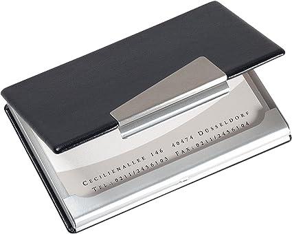 Sigel VZ131 - Estuche para tarjetas de visita, estética en aluminio y cuero: Amazon.es: Oficina y papelería
