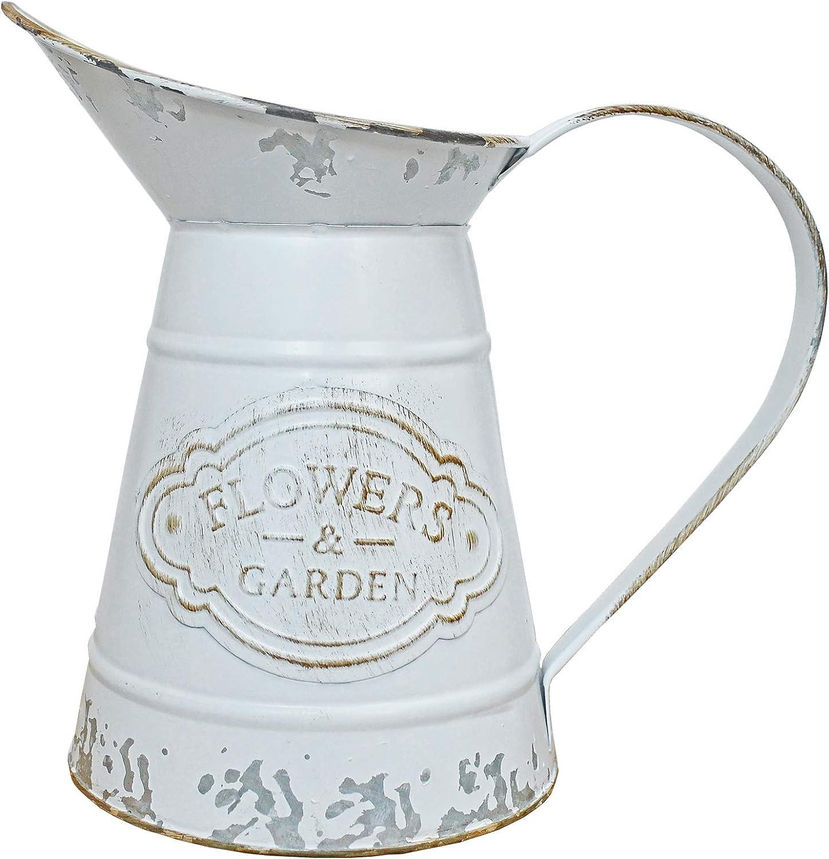 JSY-UP White Rustic Shabby Chic Vase Small Metal Vase Vintage Milk Jug Mini Pitcher Decorative Flower Vase Farmhouse Decor for Home, Kitchen, Bathroom
