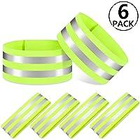 PAMIYO 6er Set Doppel Reflektorbänder,Reflektor Sicherheits Armband 35 x 5 cm für Outdoor Jogging, Radfahren, Wandern, Motorrad-Reiten, Laufen (Grün)