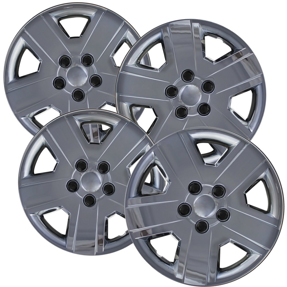 OxGord Hubcaps for 16 inch Standard Steel Wheels (Pack of 4) Wheel Covers - Snap On, Chrome