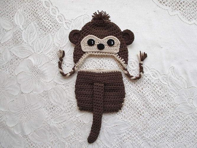 Amazoncom Crochet Baby Monkey Hat And Diaper Cover Set Photo