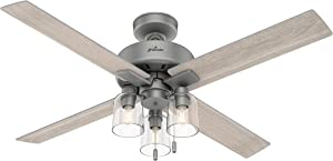 """HUNTER 50323 Indoor Ceiling Fan with LED Light and Pull Chain, 52"""", Matte Silver"""