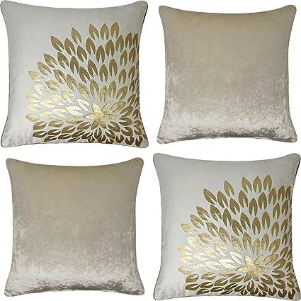 "Plain Crush Velvet Cushion Covers 18/"" x 18/"" Pack of 4 Cushion Covers Set"