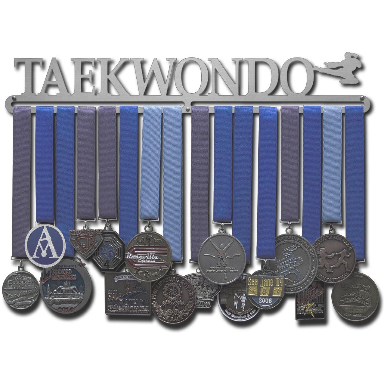 アライドメダルハンガー テコンドー 男性または女性のフィギュア 複数サイズ展開 格闘技MMAメダルハンガー。 B07F45N2M5  幅18インチ 吊り下げ用バー1本(女性のシルエット)