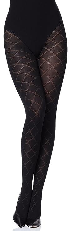 Medias opacas con Estampado en patrones de rombo - Pantys para vestido o falda.