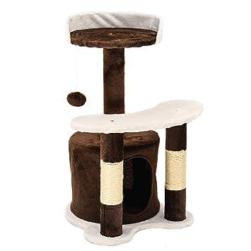 IPOTOOLS - Árbol rascador para Gatos Grandes, Estable, árbol rascador pequeño para Gatos con casa de Peluche, columnas de sisal, Tumbona y cordón ...