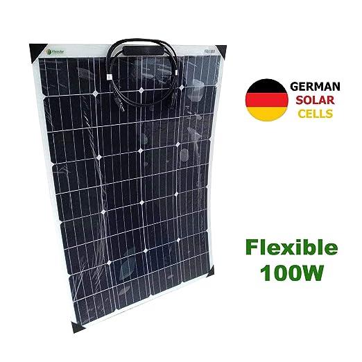 VIASOLAR Panel Solar Semi-Flexible 100W 12V células alemanas ...