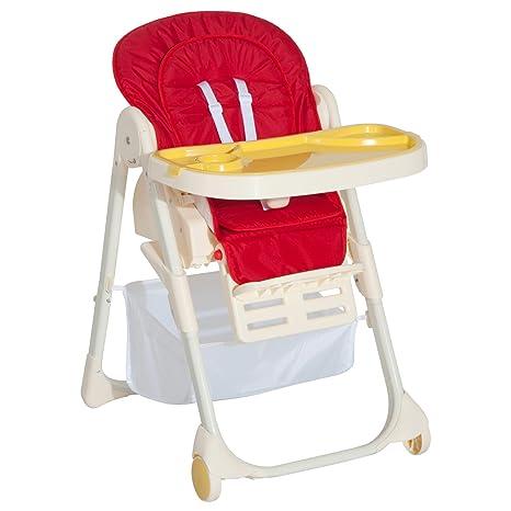HOMCOM - Trona para niños con mesa plegable compacta y cinturón de ...