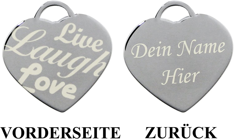 Rire Acier Inoxydable Live Grav/é Coeur Charme Bracelet et Collier Love Vivre Laugh Amour