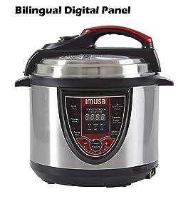 IMUSA USA Electric GAU-80106 5Qt Stainless Steel Bilingual Digital Pressure Cooker, Red