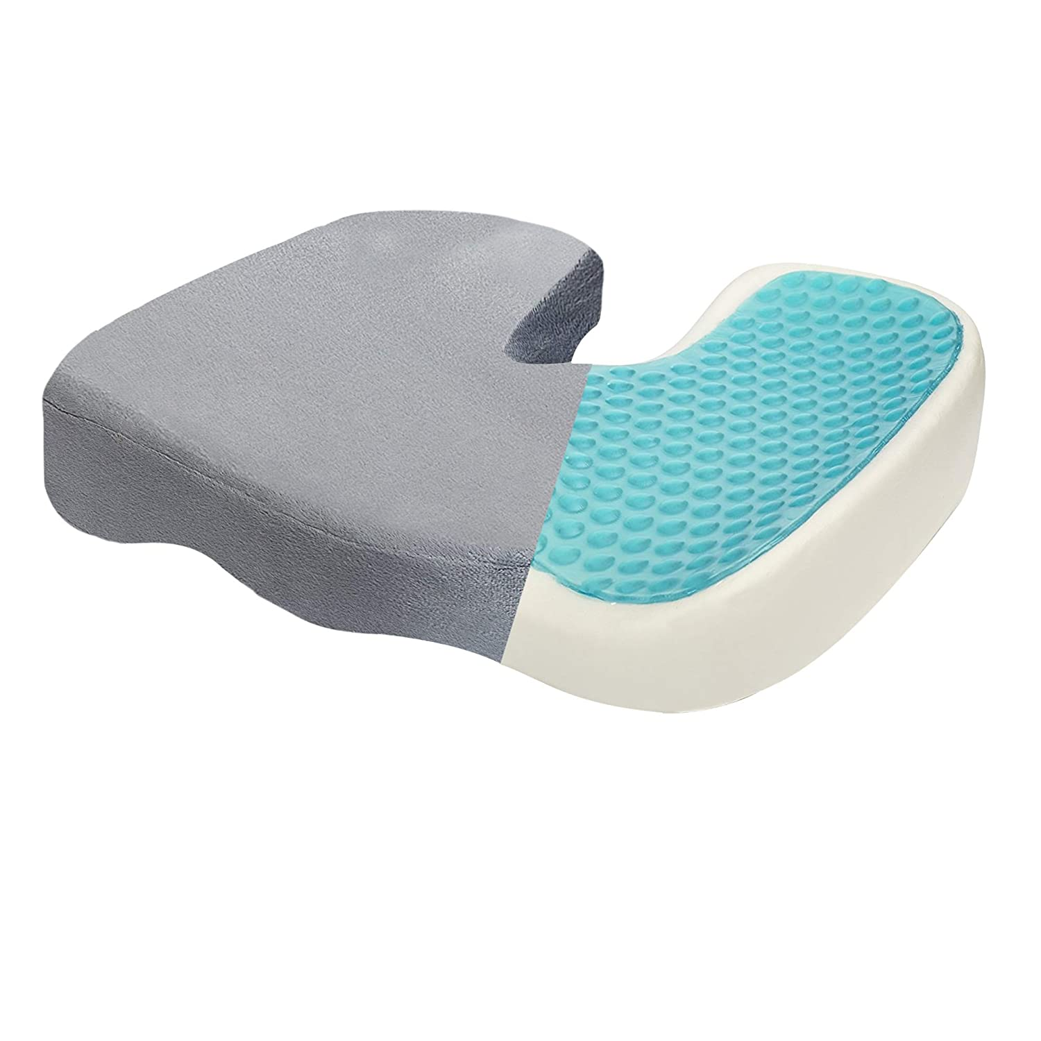 Dr. Flink Coccyx Seat Cushion Tailbone Pain Relief Pillow, Cool Gel-Enhanced - Memory Foam, Orthopedic Quality Comfort & Large Designed, Support & Relives Back & Sciatica, for Car Home, Office, Chair