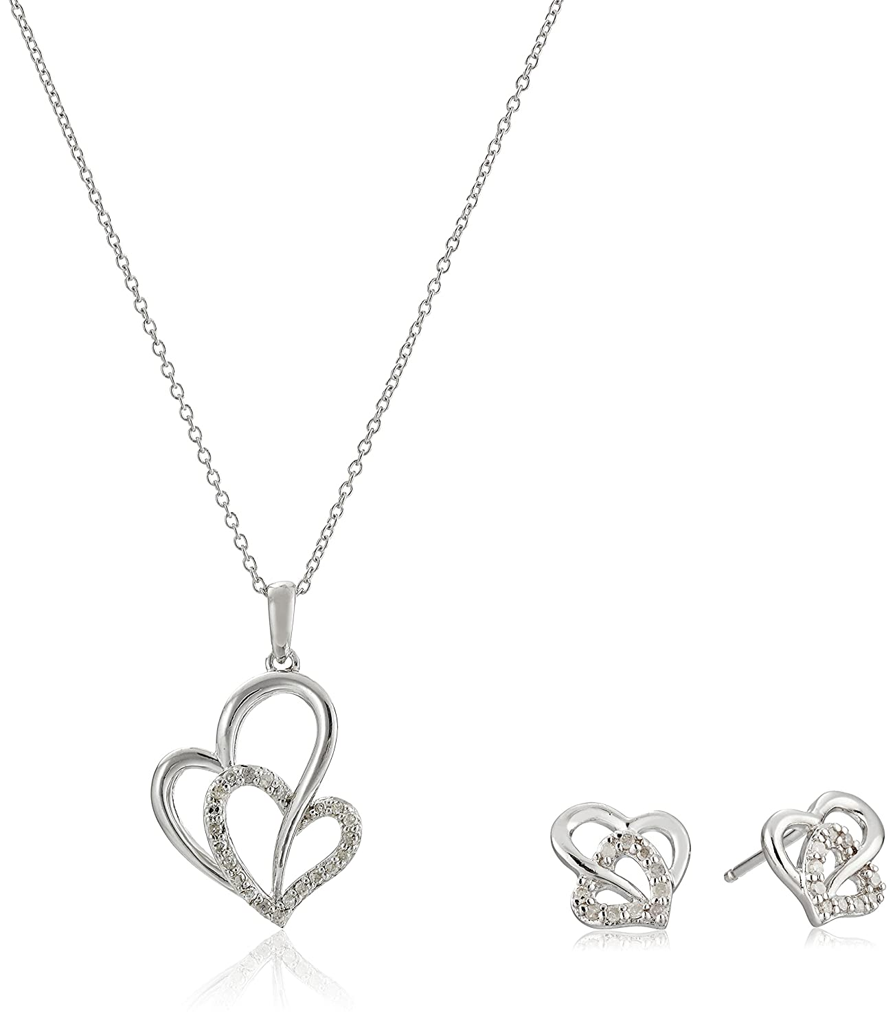 Sterling Silver Diamond-Accented Double-Heart Pendant Necklace and Earrings Jewelry Set (1/5 cttw)
