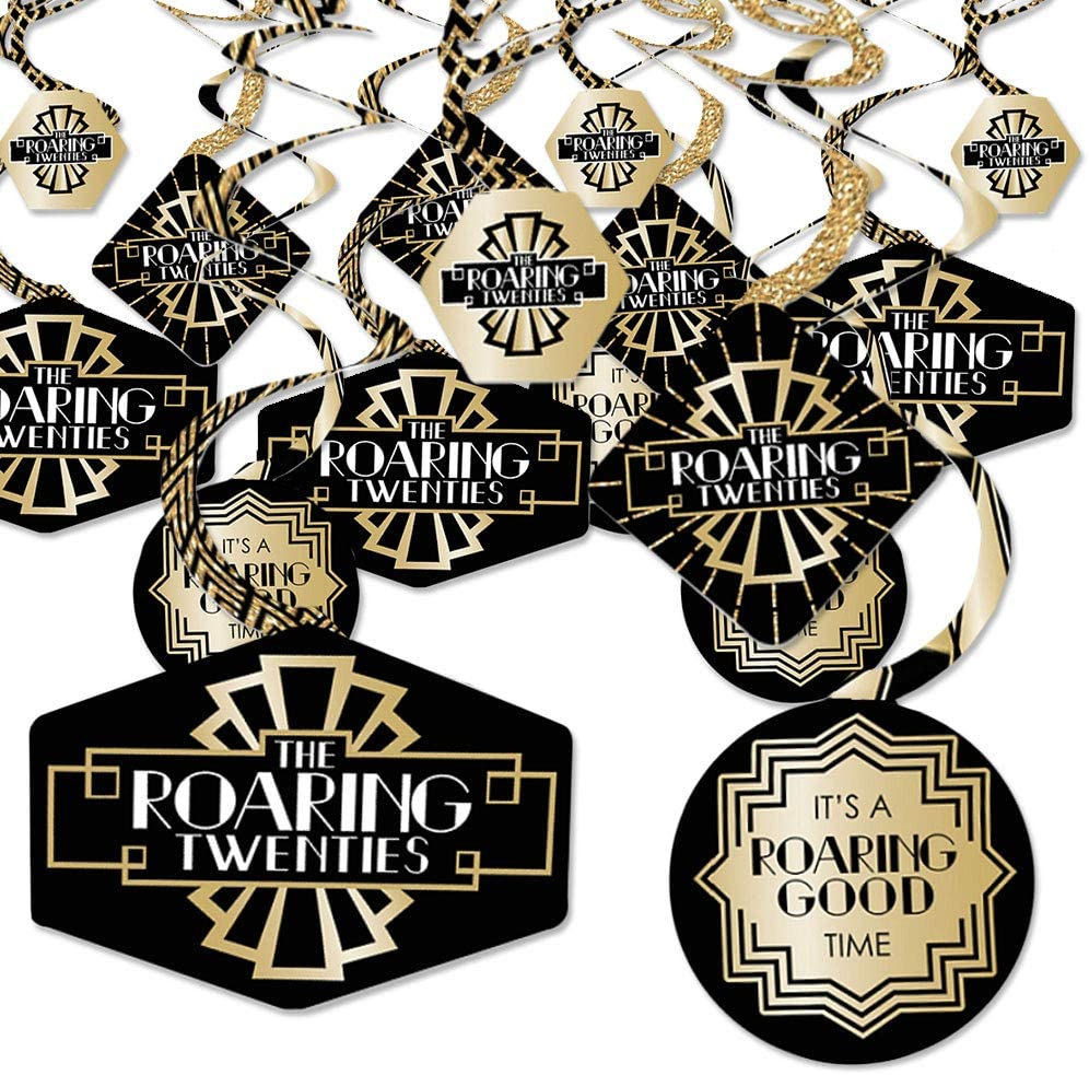 Roaring 20's - 1920s Art Deco Jazz Party Hanging Decor - Party Decoration Swirls - Set of 40