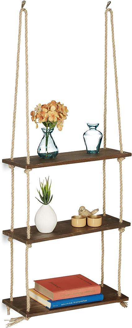 Relaxdays Estantería Colgante, Tres estantes, con Cuerda, Decoración de Pared, 96x43x15 cm, 1 Ud, Marrón, Madera