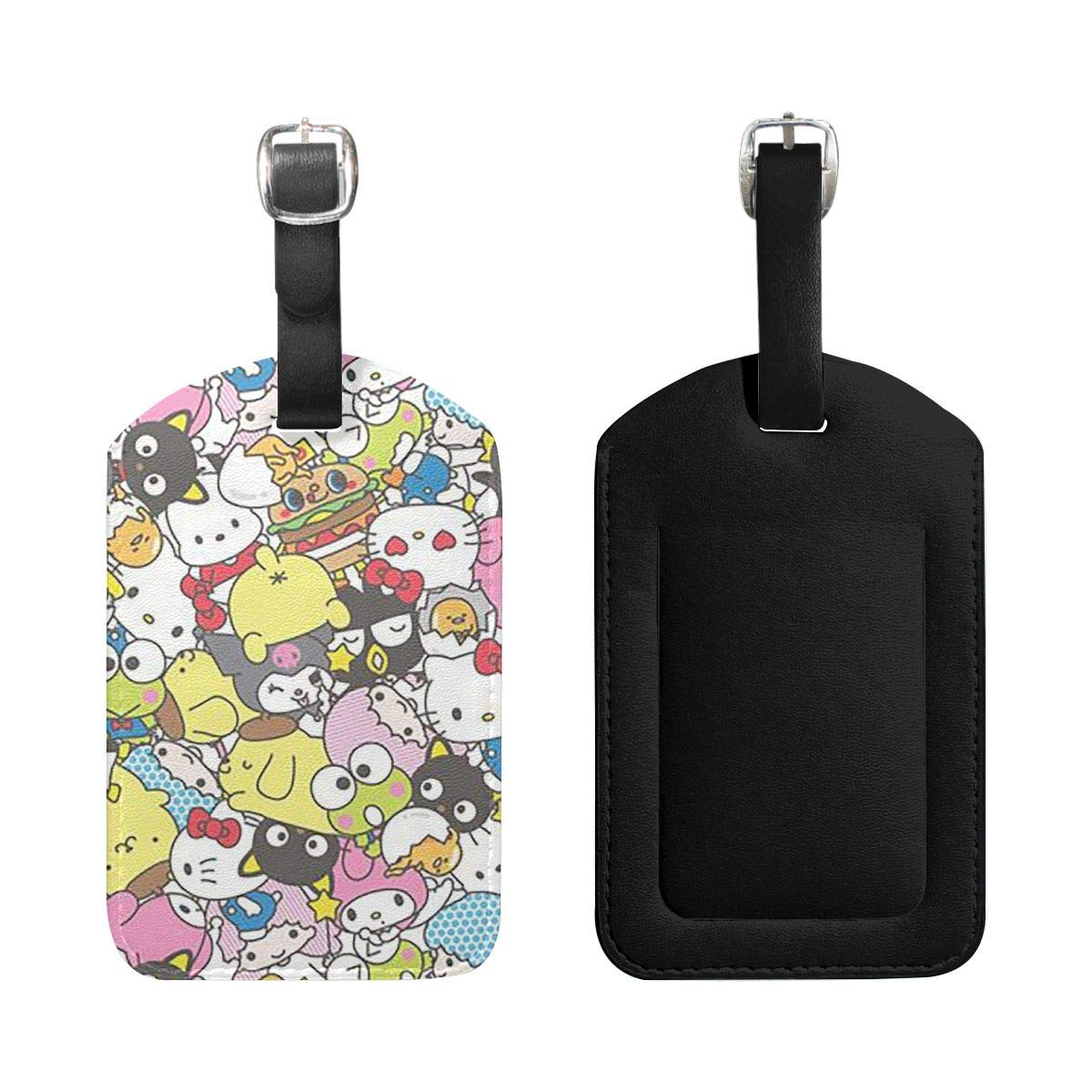 Set of 2 PU Leather Luggage Tags Hello Kitty Suitcase Labels Bag Adjustable Leather Strap Travel Accessories