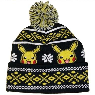 Amazon.com  Pokemon Pikachu Knit Pom Hat  Clothing ce8fedaf54c
