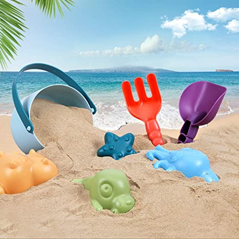 TOOGOO Summer Silicone Soft Baby Beach Toys ChildrenS Mesh Bag Bath Toy Set Beach Party Stroller Duck Bucket Sand Mold Tool Water Game