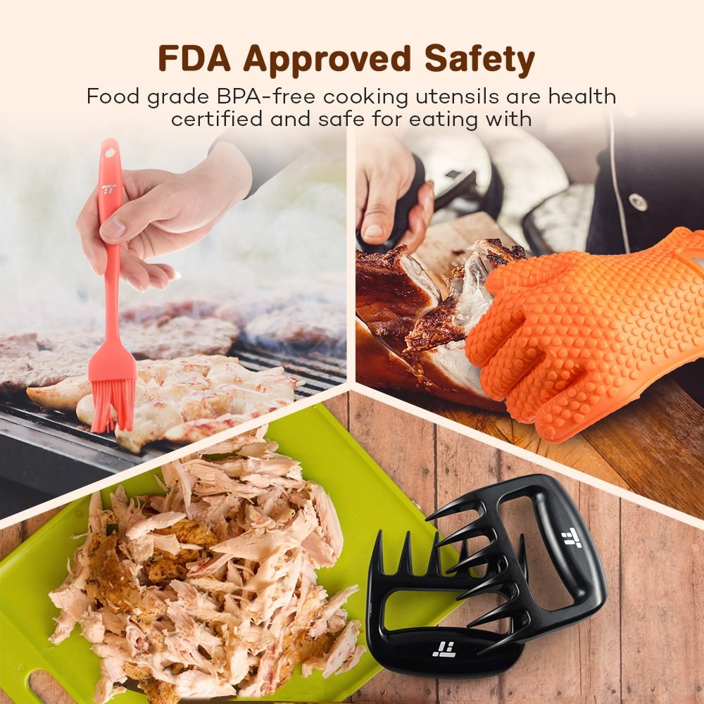BBQ Gloves Heat Resistant, TaoTronics Meat Shredder Silicone and BBQ Brush, Grill Accessories, Perfect for Shredding Smoked Meat & Pulled Pork, Dishwasher Safe, FDA Approved by TaoTronics (Image #2)