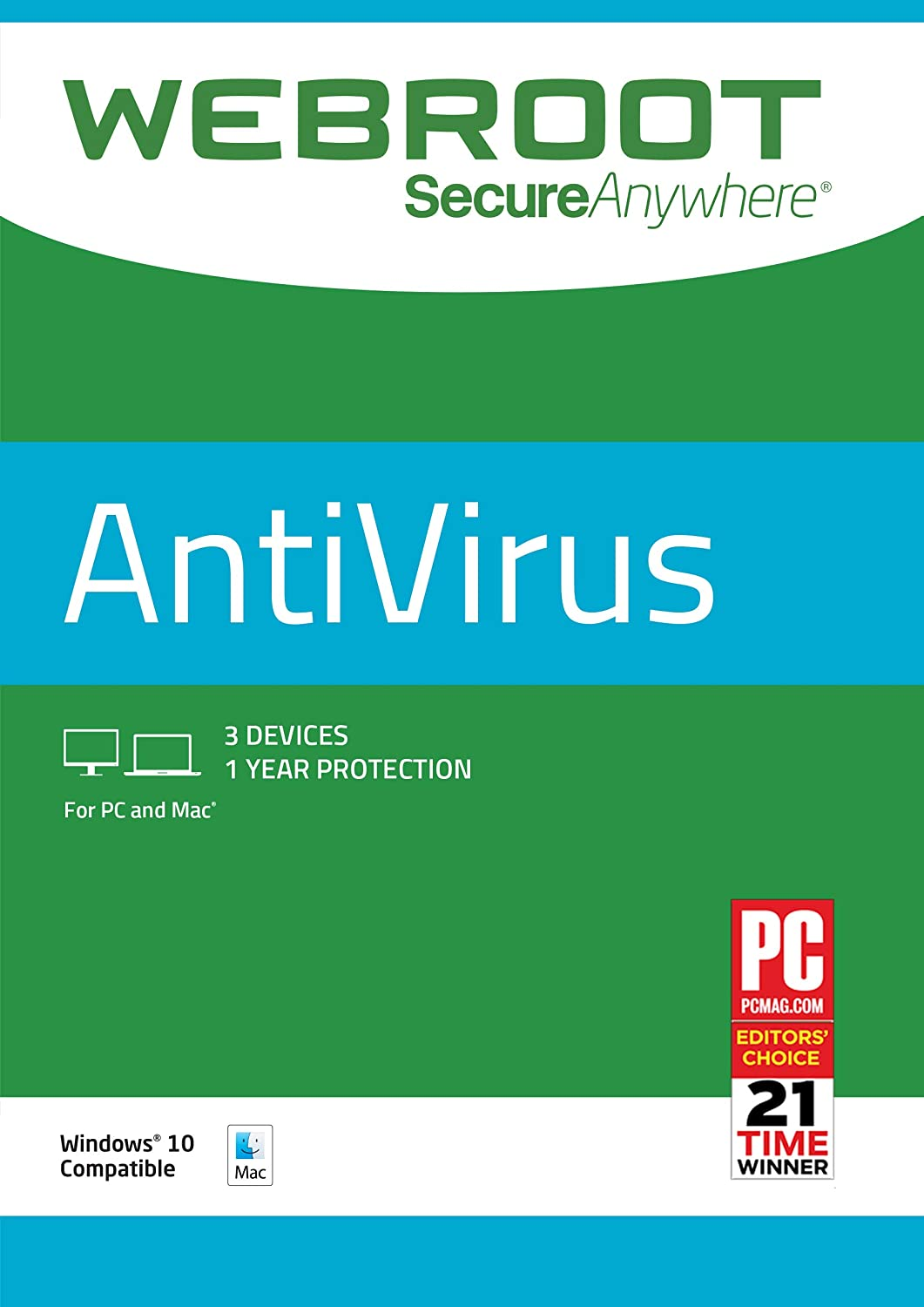 Amazon.com: Webroot Antivirus Protection Internet Security | 3 Device | 1  Year Subscription | PC/Mac Disc: Software