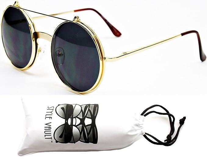 75f8b089c5f Amazon.com  V135-vp Style Vault Round Flip up Django Steampunk Metal  Sunglasses (ABSD Gold-Dark Lens