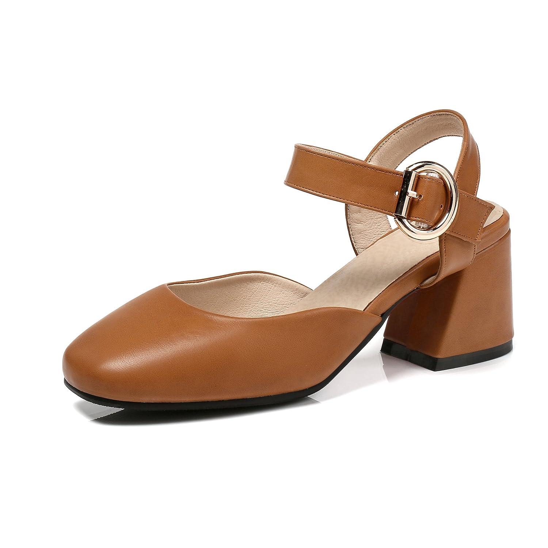 Unbekannt Damen Sandalen Quadratischen Kopf Flach Mund High Heel Schnalle Dick mit Caramel Farbe 33