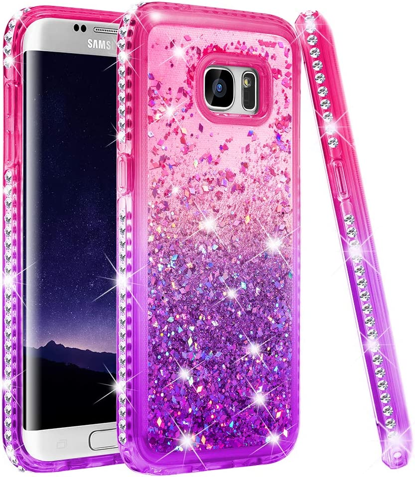 Ruky Galaxy S7 Edge Case, Galaxy S7 Edge Case for Women, Colorful Quicksand Series Flowing Liquid Floating Soft TPU Bling Diamond Girls Women Phone Case for Samsung Galaxy S7 Edge (Pink Purple)
