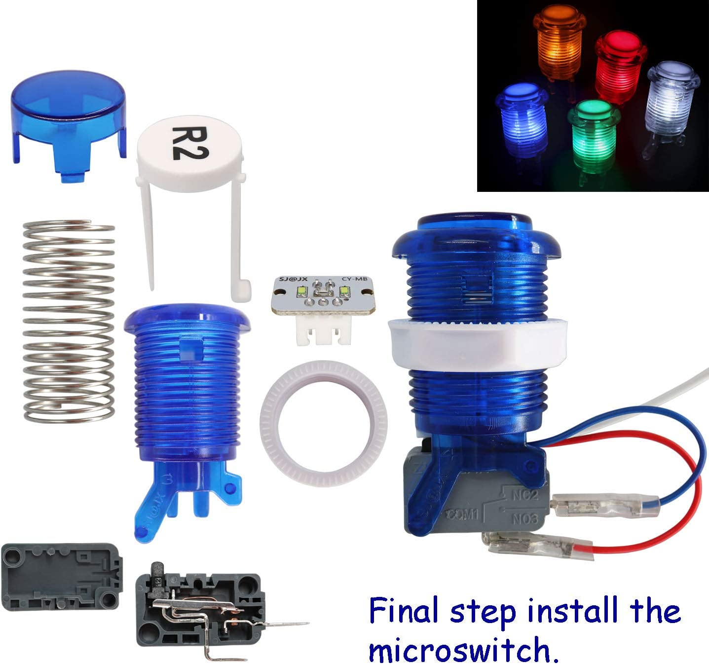 SJ@JX Arcade Game Stick DIY Kit Buttons with Logo LED 8 Way Joystick USB Encoder Cable Controller for PC MAME Raspberry Pi Color Mix green