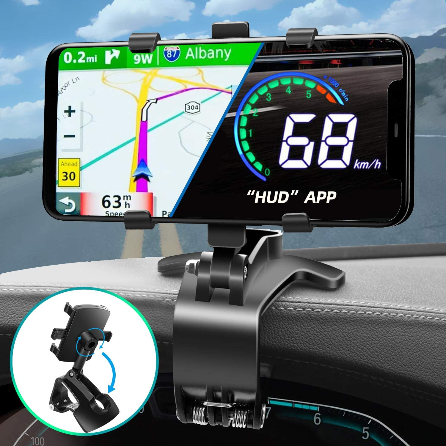 Phone Car Holder Mount 360 Degree Rotation Dashboard Cell Phone Holder for Car Rearview Mirror Clip Stand Compatible for iPhone 11 12 Pro XS XR 8 8Plus 7 Samsung Galaxy S10 S9 S8 LG and More
