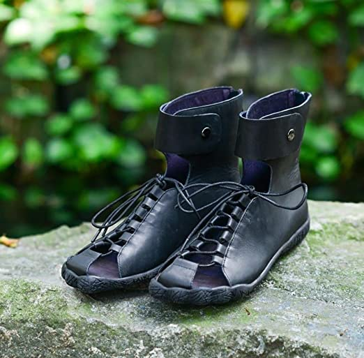 YNXZ-SHOE Mujeres Sandalias Cabeza Redonda Cuero Zapatos Planos ...