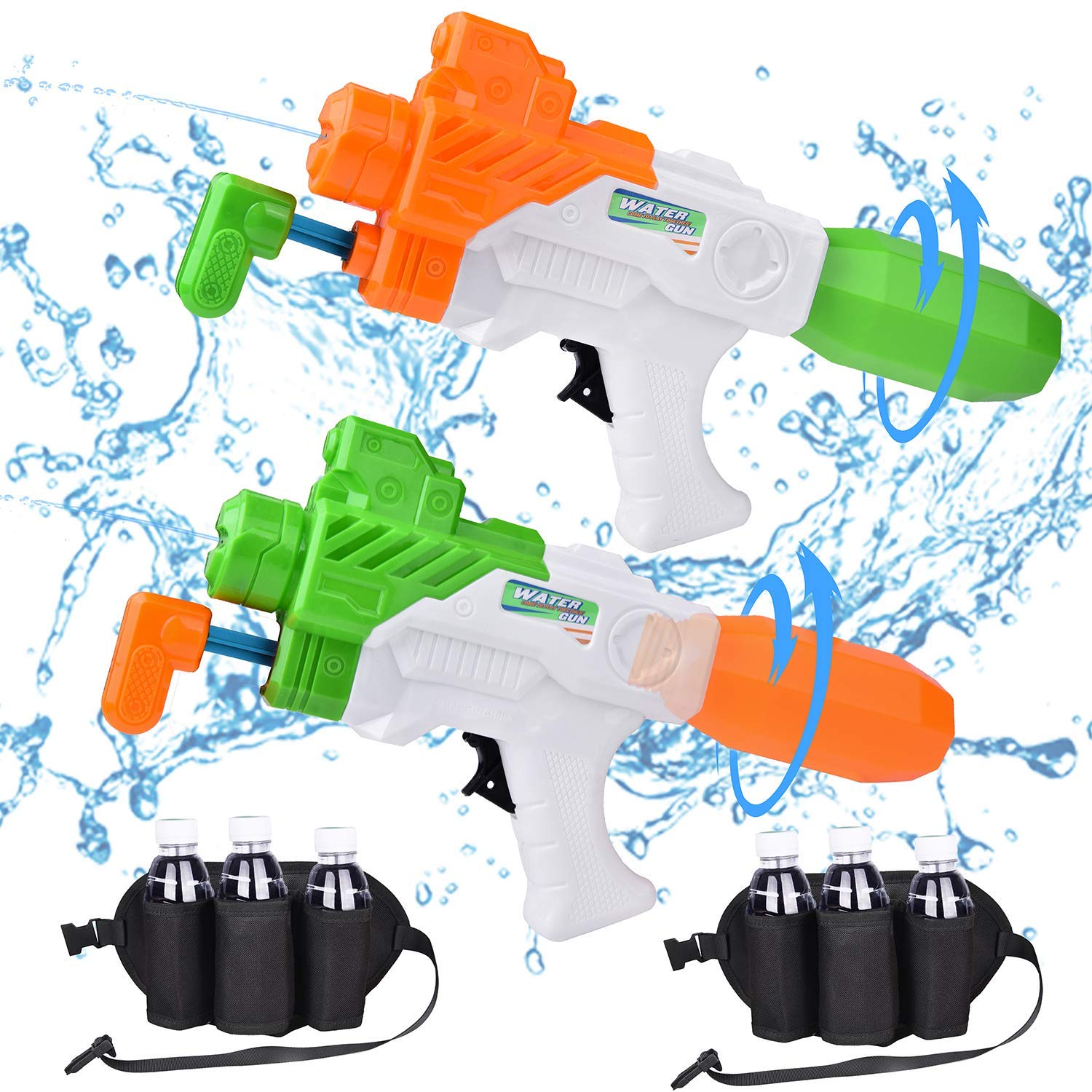 GEARBOSE 2 Pack Water Guns for Kids and 2 Waistbands, Squirt Guns Water Blaster Toys Pool Toys Outdoor Toys for Fight Games, Water Games, Outdoor Games and Party Favors by GEARBOSE