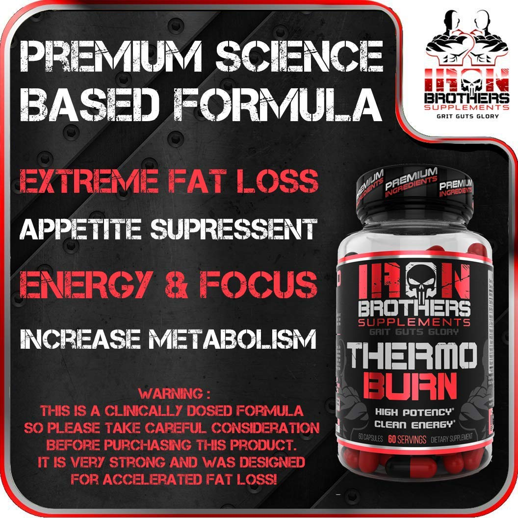 Thermogenic Fat Burners for Men/Women - Hardcore Weight Loss Pills - Appetite Suppressant- Premium Metabolism/Energy Booster - 60 Gel Capsules - Keto Friendly - Iron Brothers Thermo Burn by Iron Brothers Supplements (Image #4)