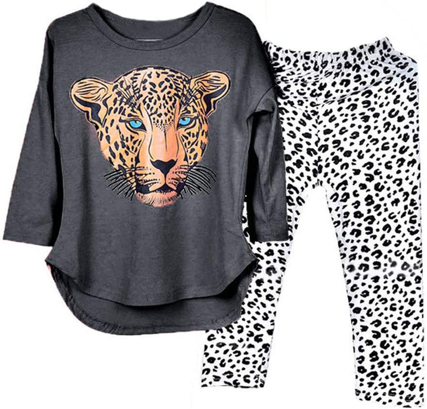 Sumeier Animal Print Tops+Leopard Pants Outfit Long Sleeve Costume for 2-12 Years Old Toddler Baby Girls