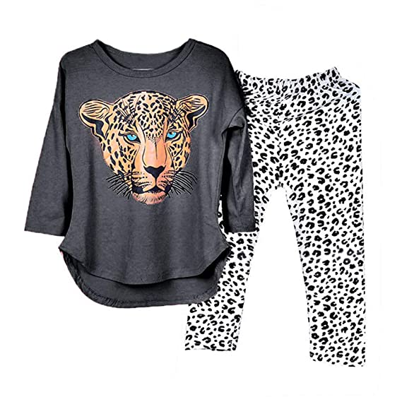 Toddler Baby Girls Tiger Print Long Sleeve Tops+Leopard Pants Outfit Costume Set