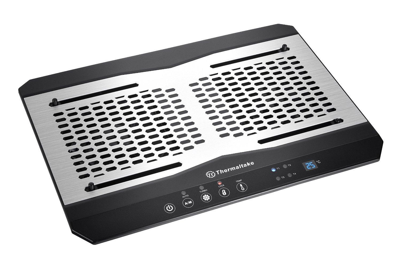 Thermaltake Massive TM Aluminum Panel Dual 120mm Fans Adjustable Temperature Sensor 10''-17'' Laptop Notebook Cooling Pad CL-N002-PL12BL-A