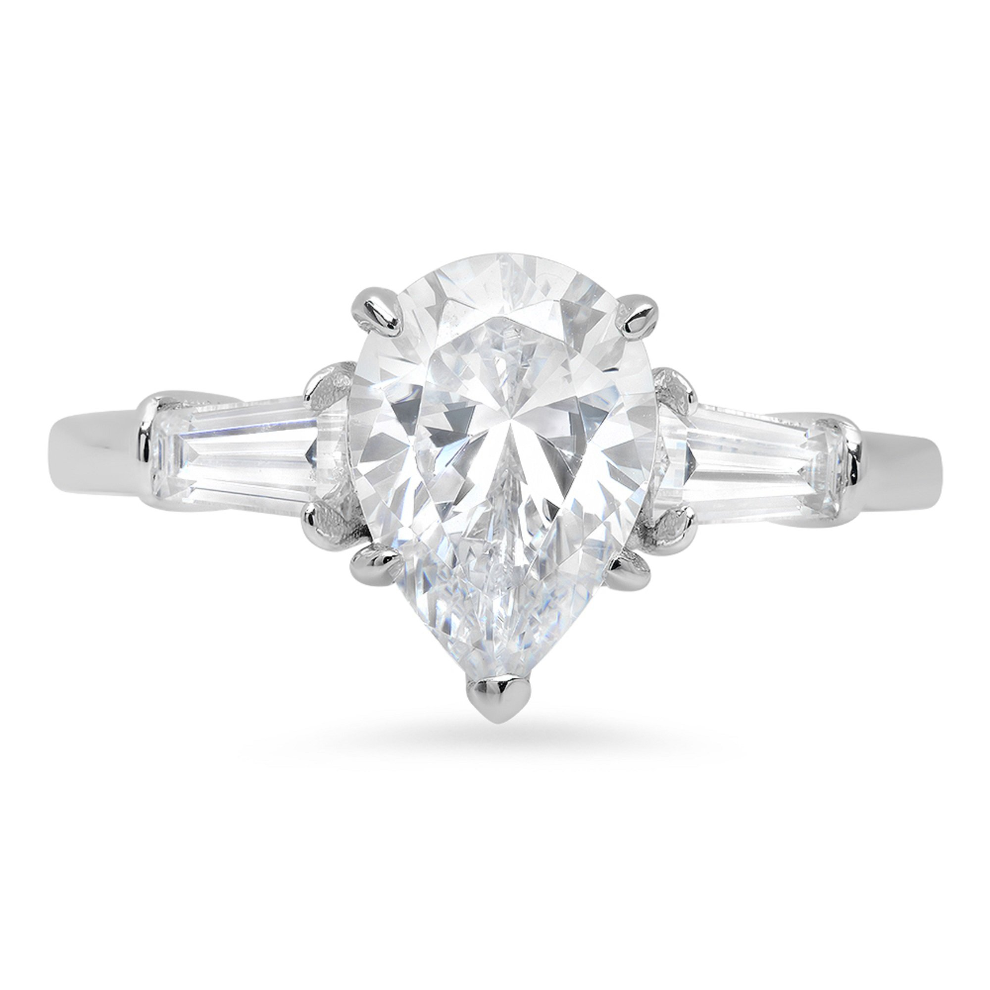 2.6ct Brilliant Pear Baguette Cut Solitaire 3-Stone Statement Ring 14k Solid White Gold, 7