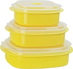Calypso Basics by Reston Lloyd 6-Piece Microwave Cookware, Steamer and Storage Set, Lemon