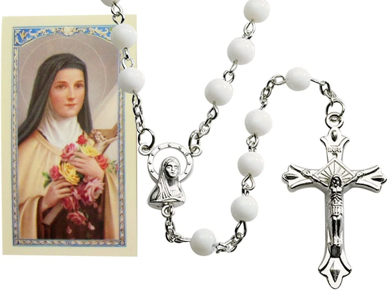 7482785221 St Saint Therese Milk Glass Bead Rosary with Free Holy Card Blessed by Pope Francis 71-p2d3CPmL