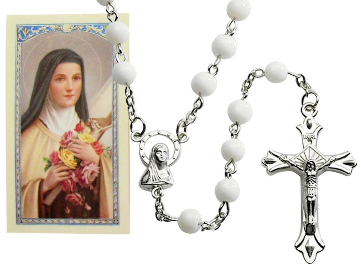 St Saint Therese Milk Glass Bead Rosary with Free Holy Card Blessed By Pope Francis