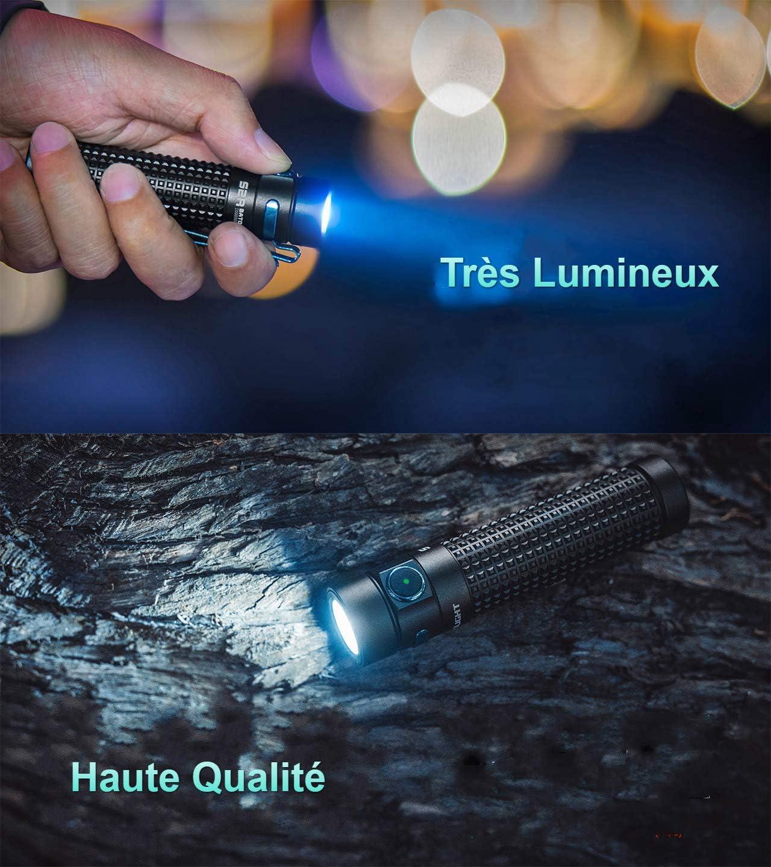 Mode Turbo Stroboscope et Bouton Lat/éral Possible Chargeur MCC II Magn/étique OLIGHT S2R BATON II Lampe Torche LED Puissante Rechargeable Sortie Puissante 1150 Lumens 135 M/ètres