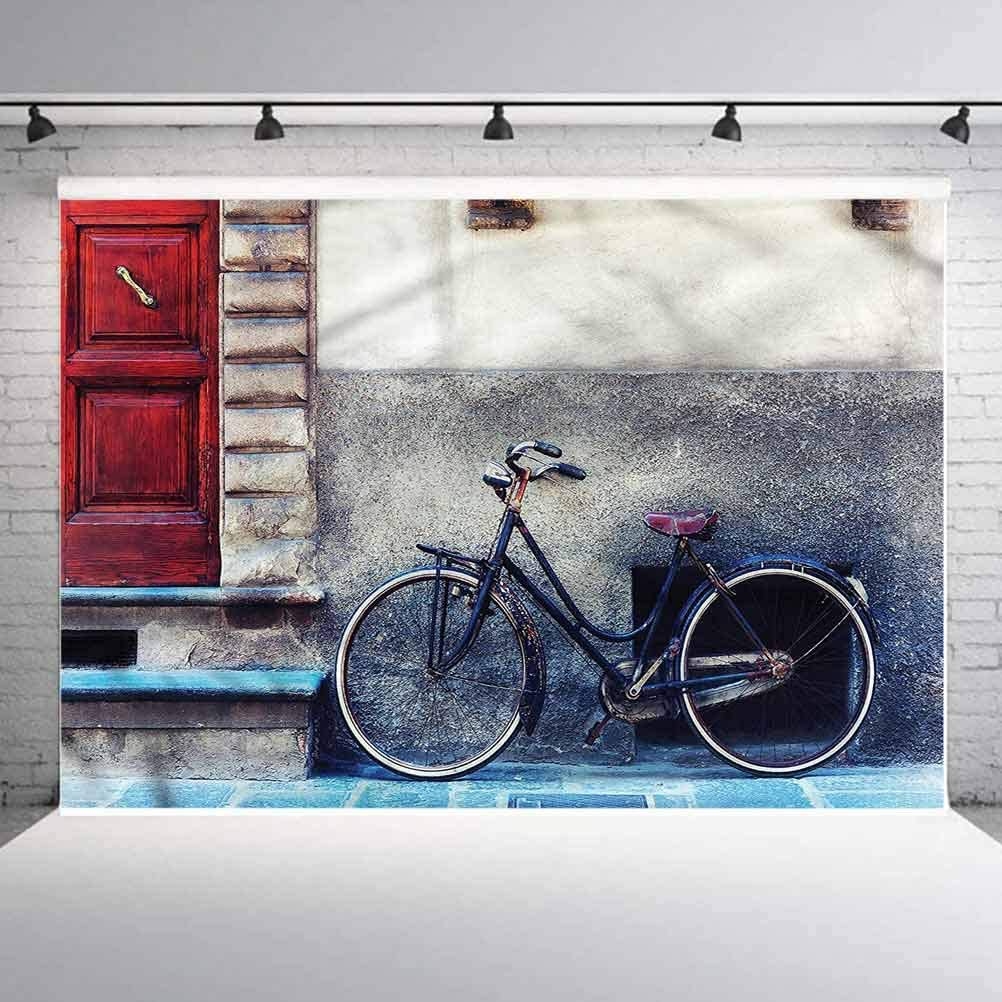 5x5FT Vinyl Photo Backdrops,Bicycle,Bike Leans on Wall Urban Background for Selfie Birthday Party Pictures Photo Booth Shoot