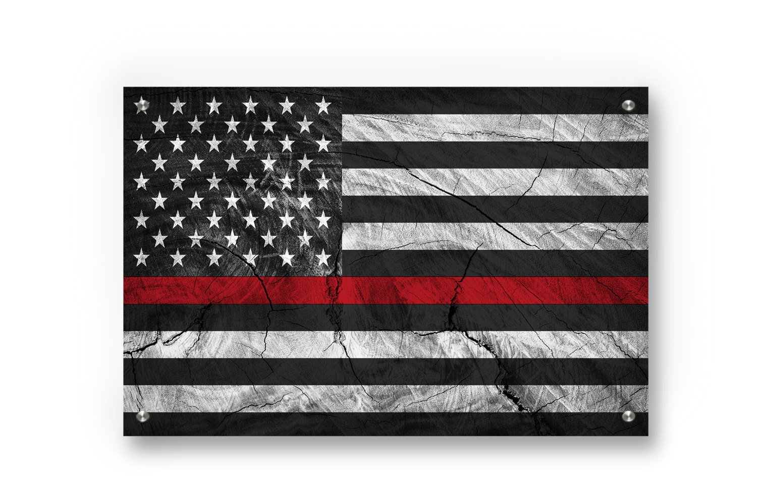 Buttered Kat Thin Red Line (Honor Fire Fighters) American Flag printed on Brushed Aluminum (Large (33 x 22 Inches))