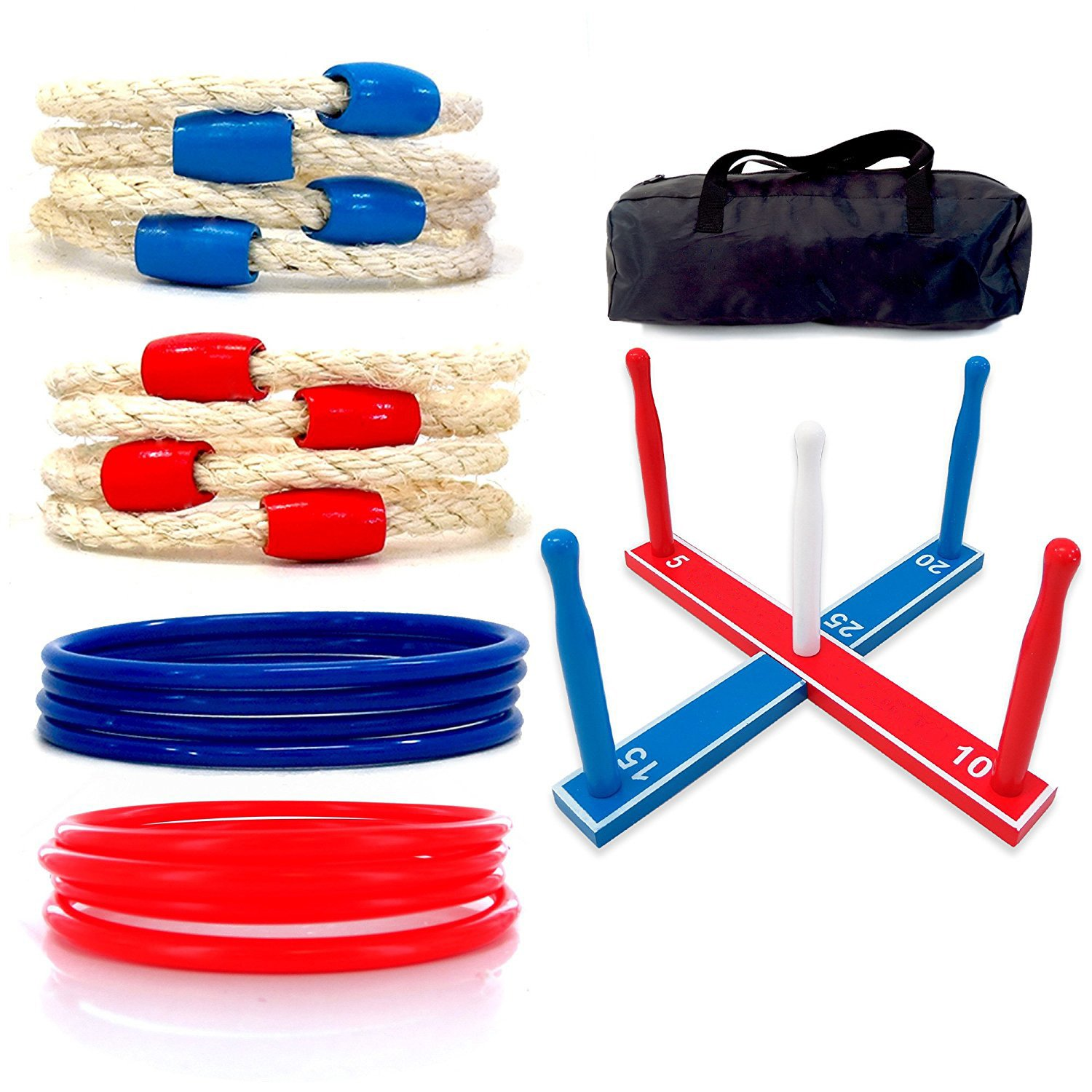 M.E.R.A. Premium Ring Toss Game Set, Improves Hand-Eye Coordination for Kids and Adults, Includes 8 Rope and 8 Plastic Rings, Game for Camping/ Carnival/ Outdoor/ Lawn/ Party/ Yard - with Carrying Bag