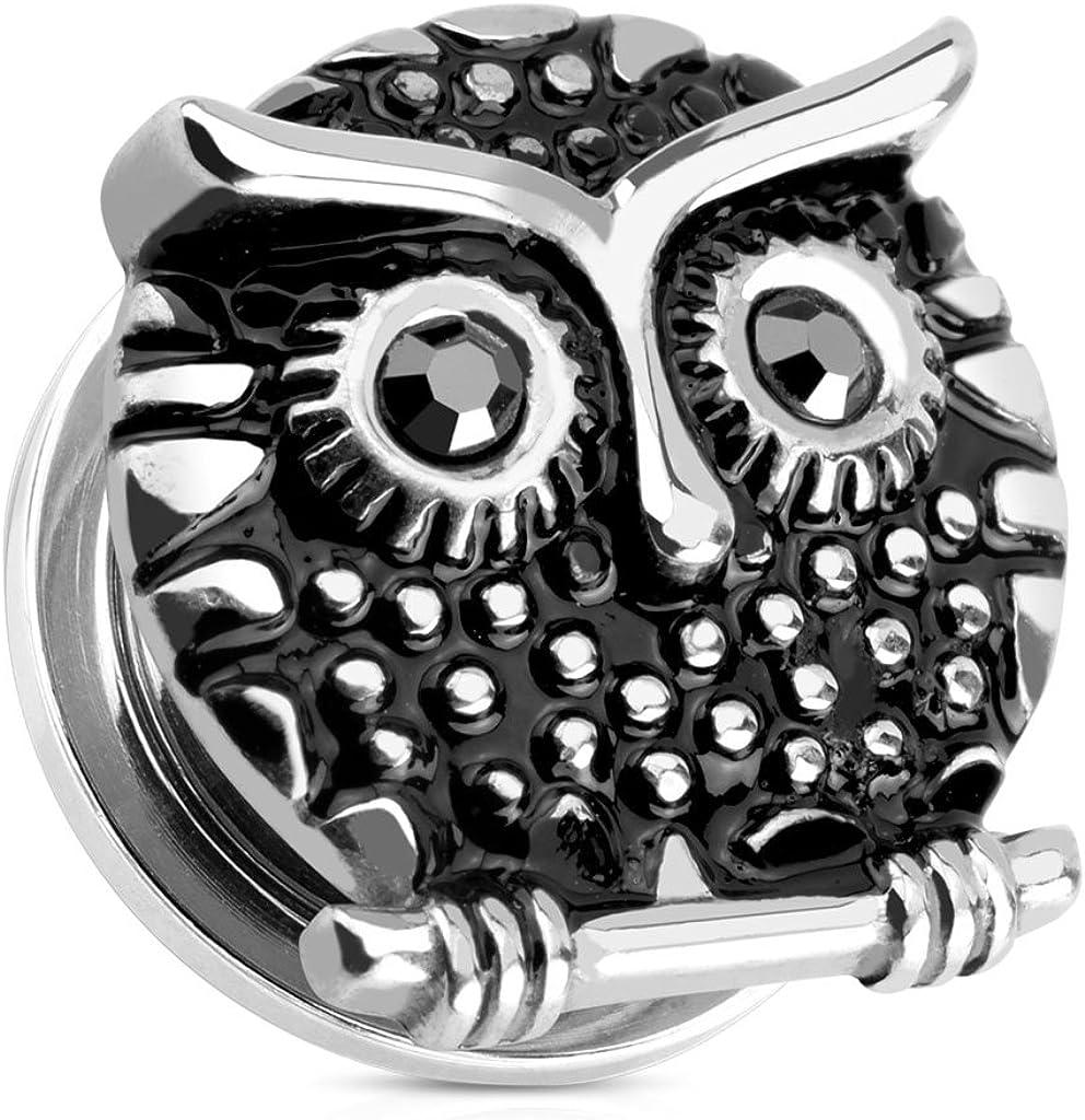 Dynamique Owl with Gemmed Black Eyes 316L Surgical Steel Screw Fit Plug